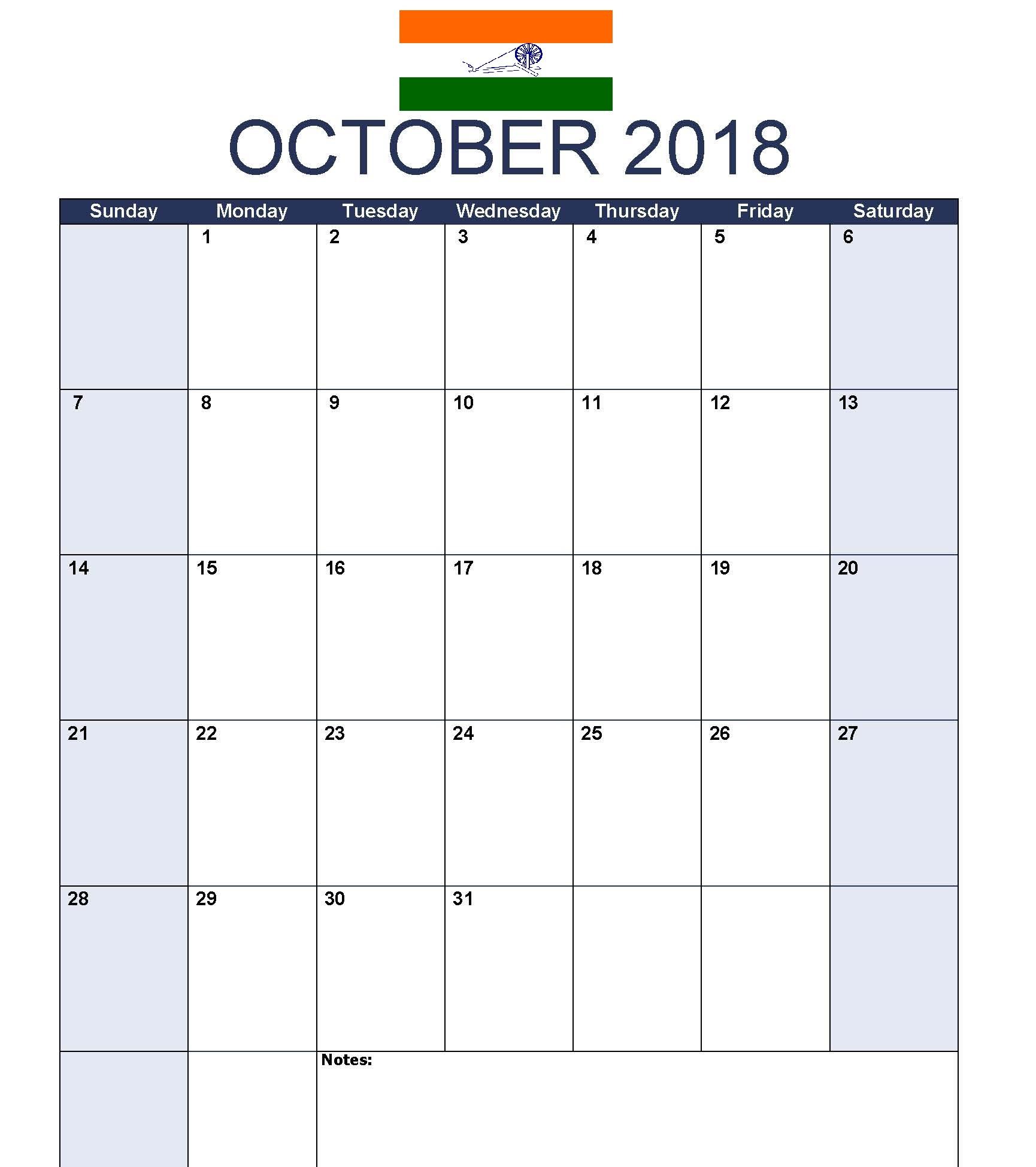 Timeline October 2018 Calendar India