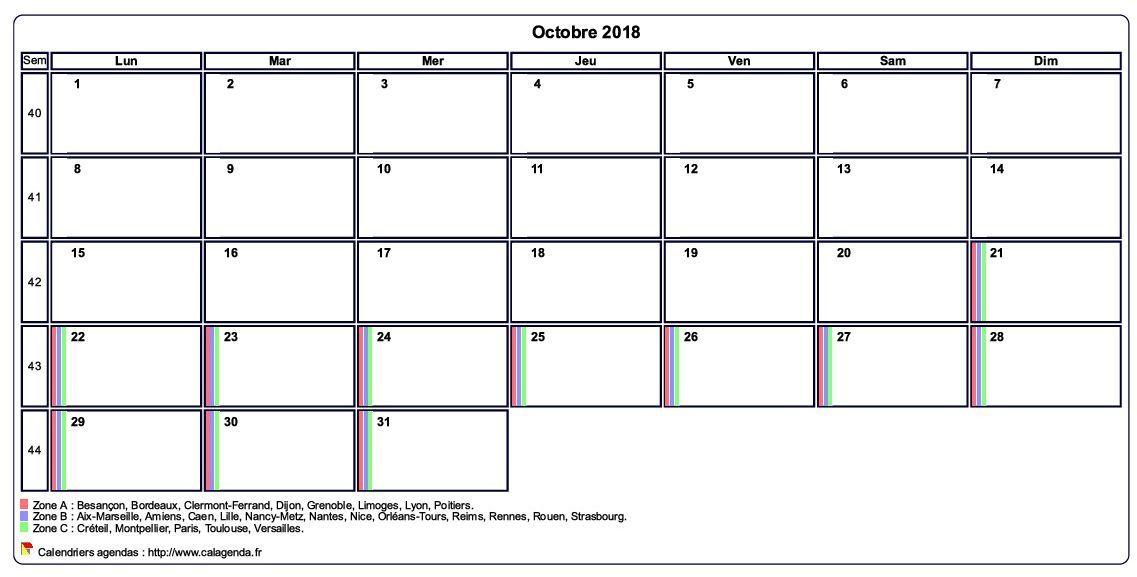 2018 Calendrier Octobre
