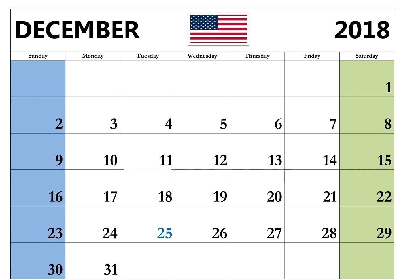 2018 December Calendar USA
