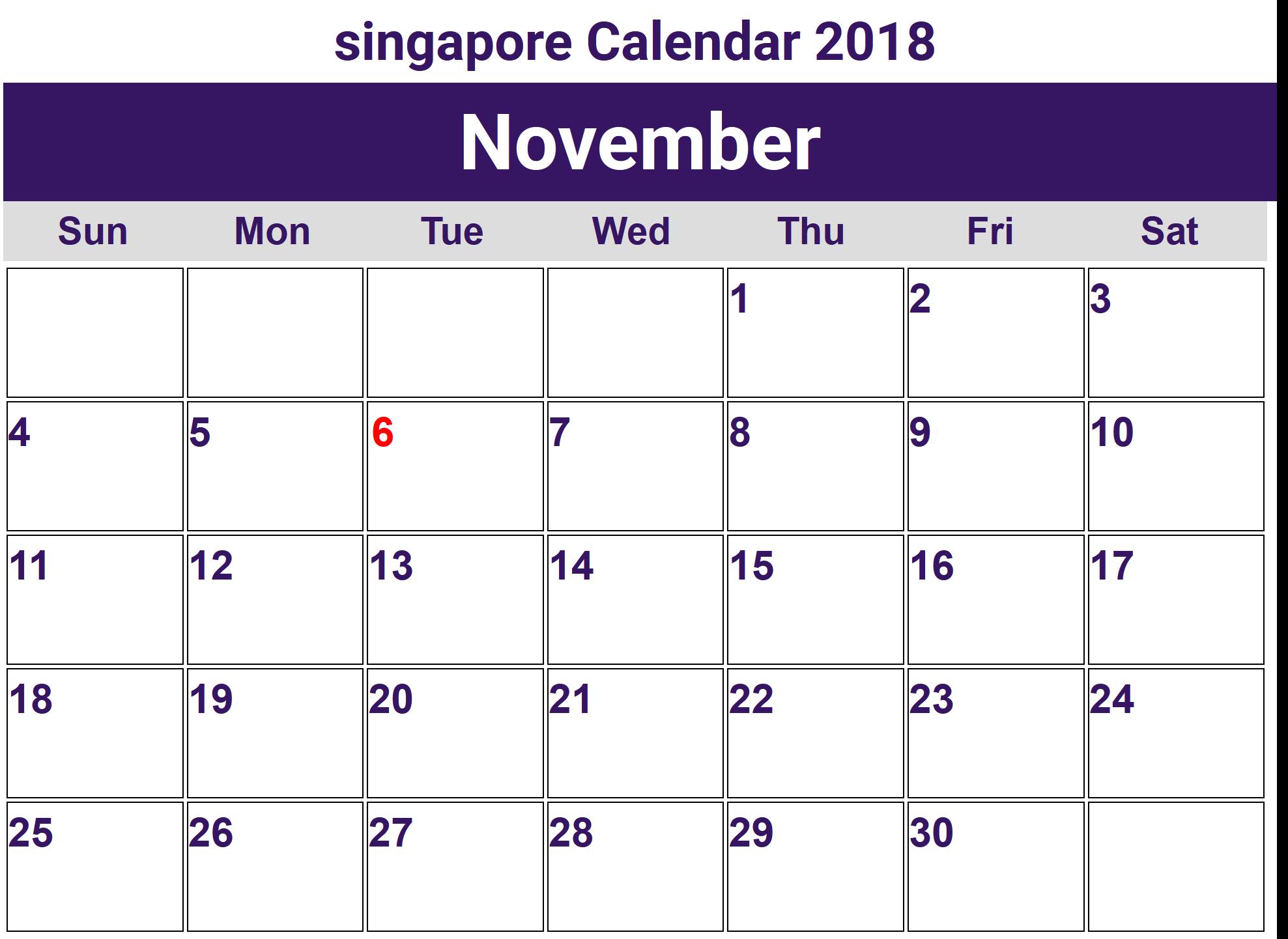 2018 November Calendar Malaysia