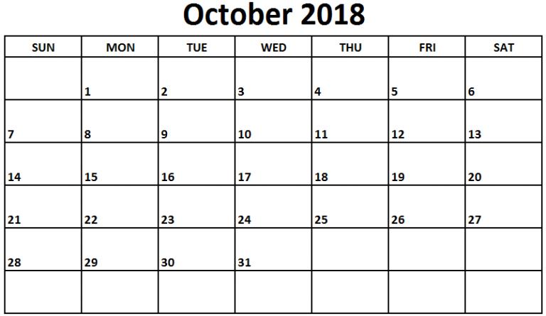 2018 October Calendar NZ