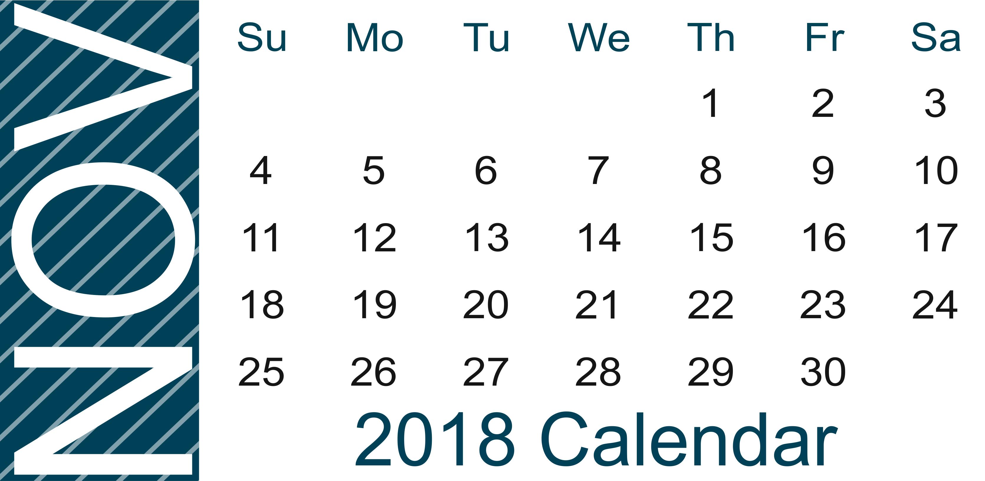 Blank November 2018 Calendar Landscape
