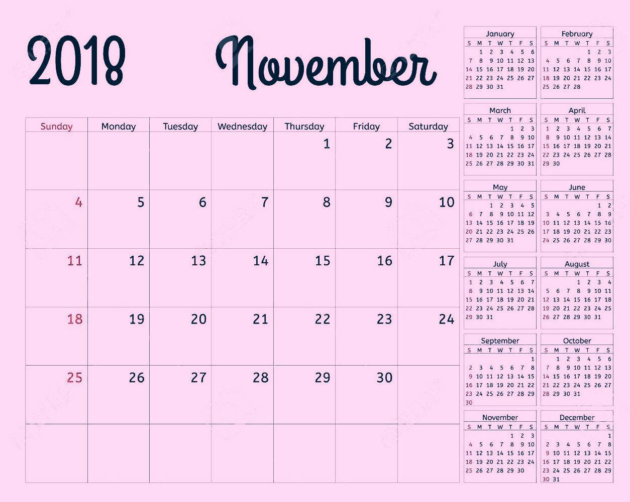 Blank November 2018 Calendar Pink