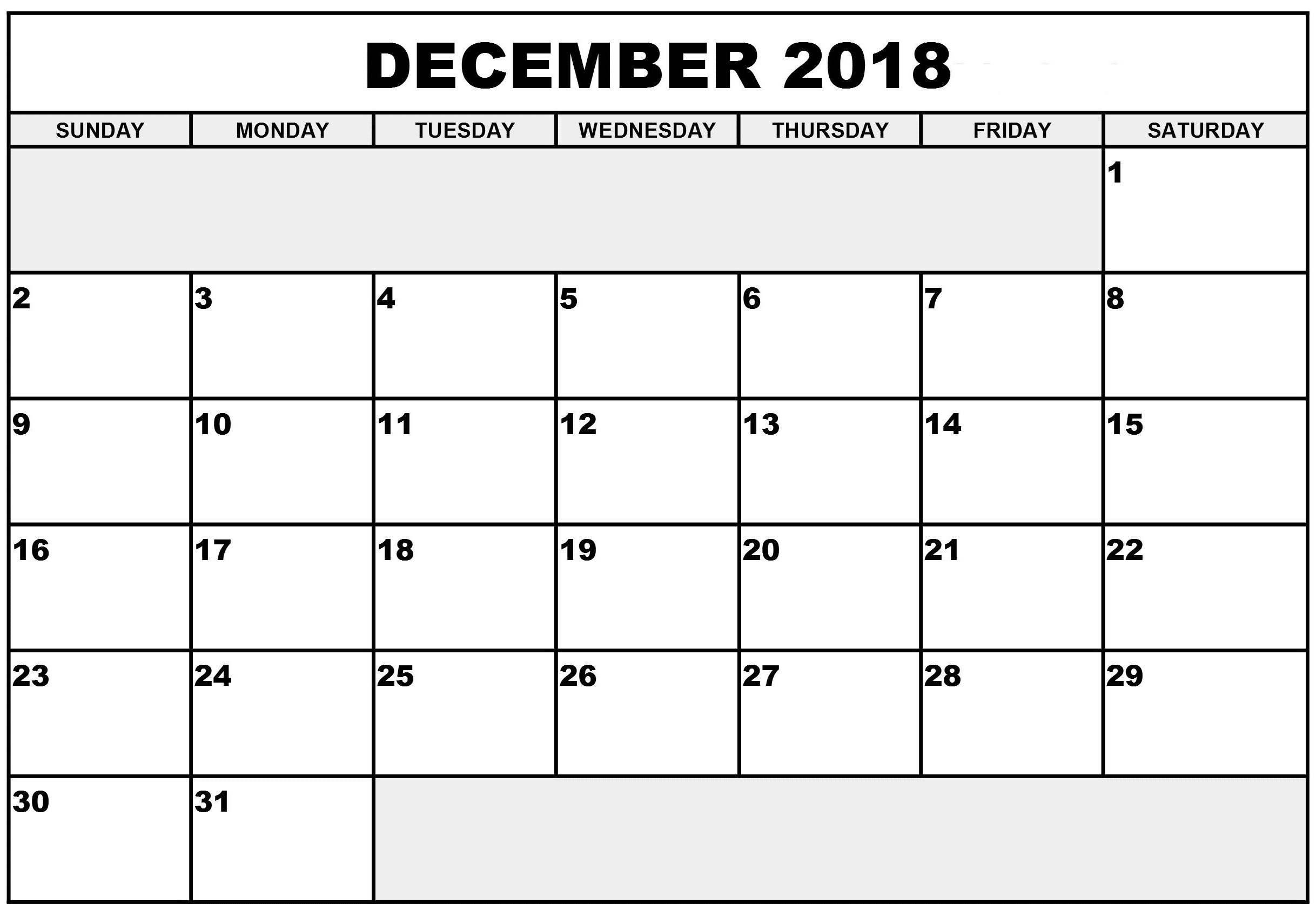 Calendar December 2018 Blank Monthly Template