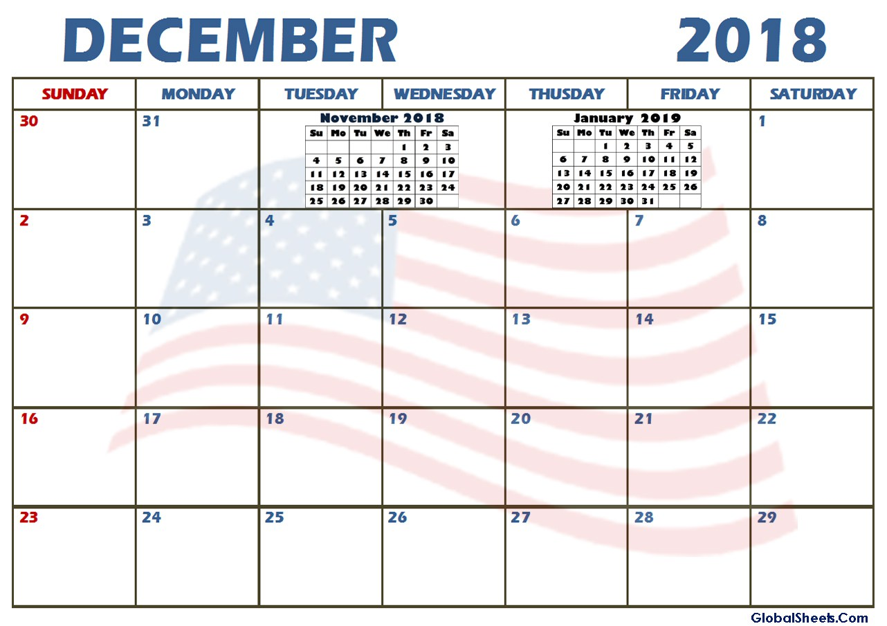 Calendar December 2018 USA