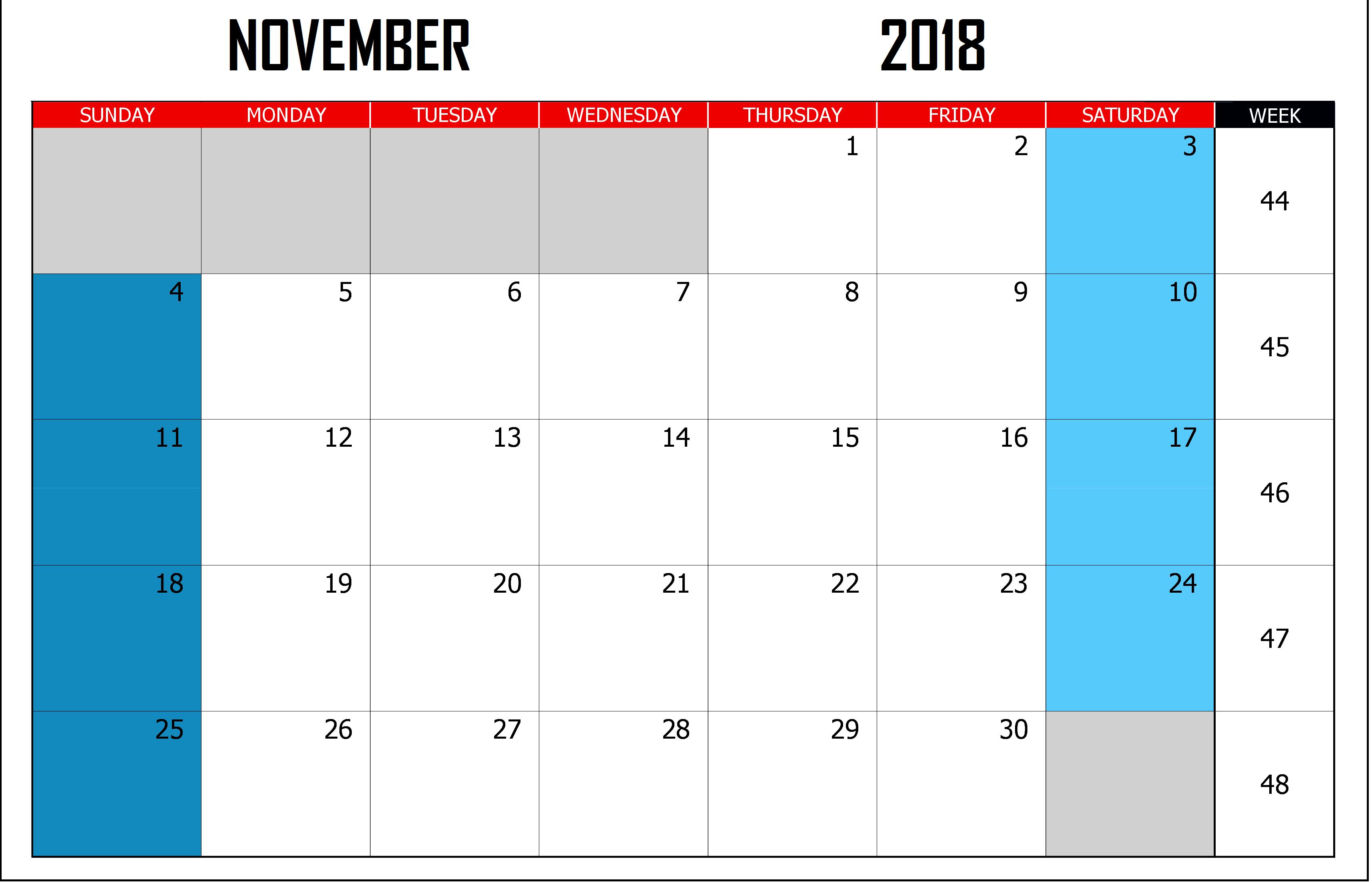 Calendar November 2018 Landscape