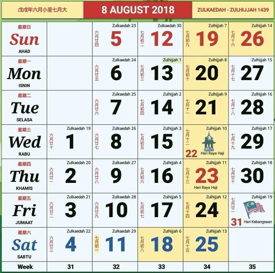 Calendar November 2018 Malaysia