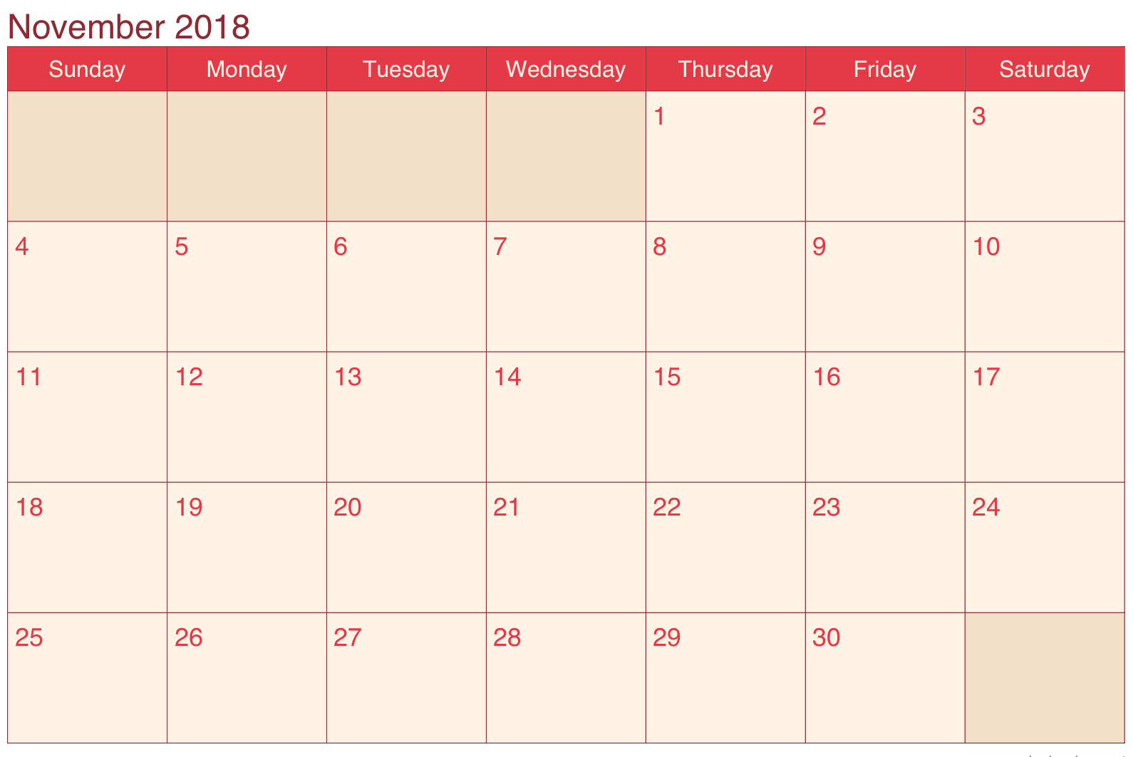 Calendar November 2018 Pink