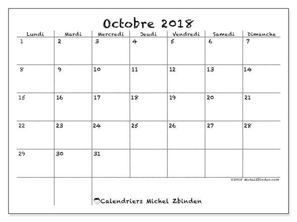 Calendrier 2018 Octobre