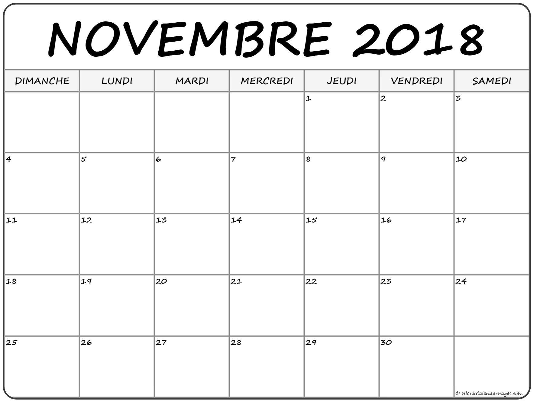 Calendrier Novembre 2018 Para Imprimir
