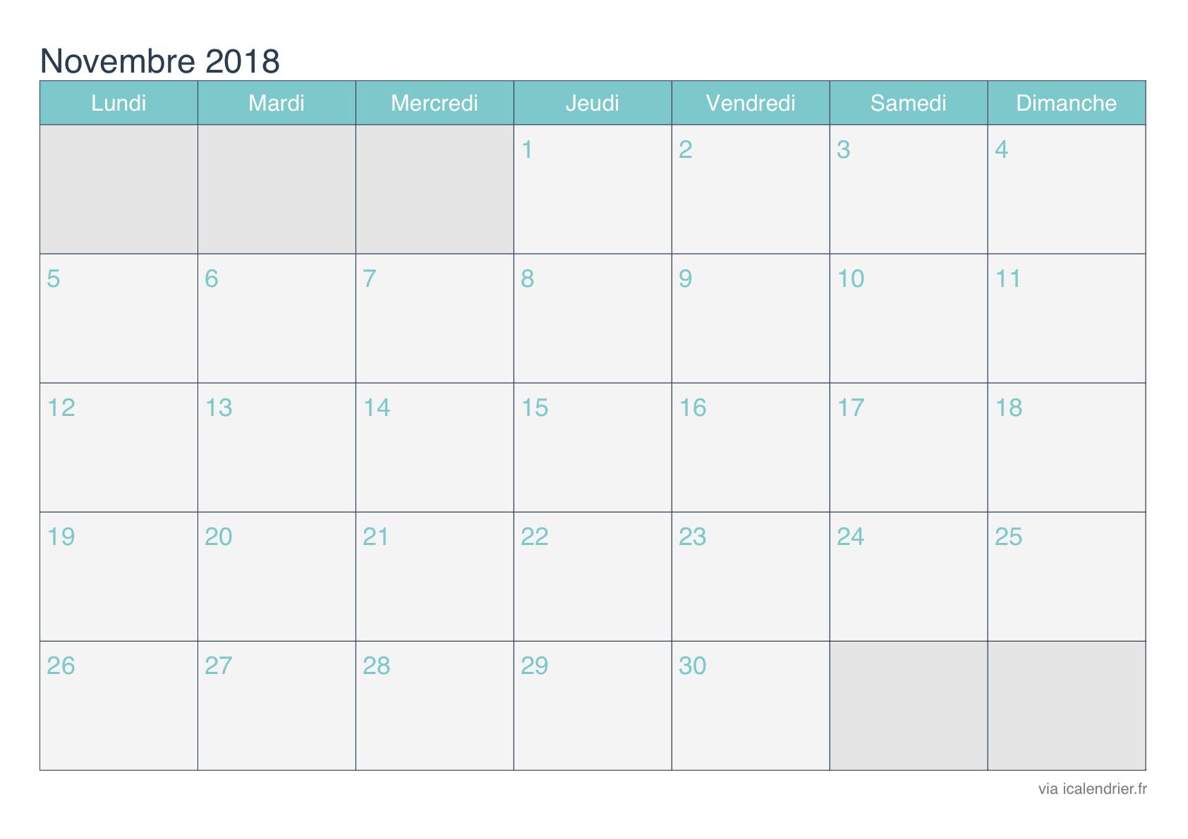 Calendrier Novembre 2018 a Imprimir