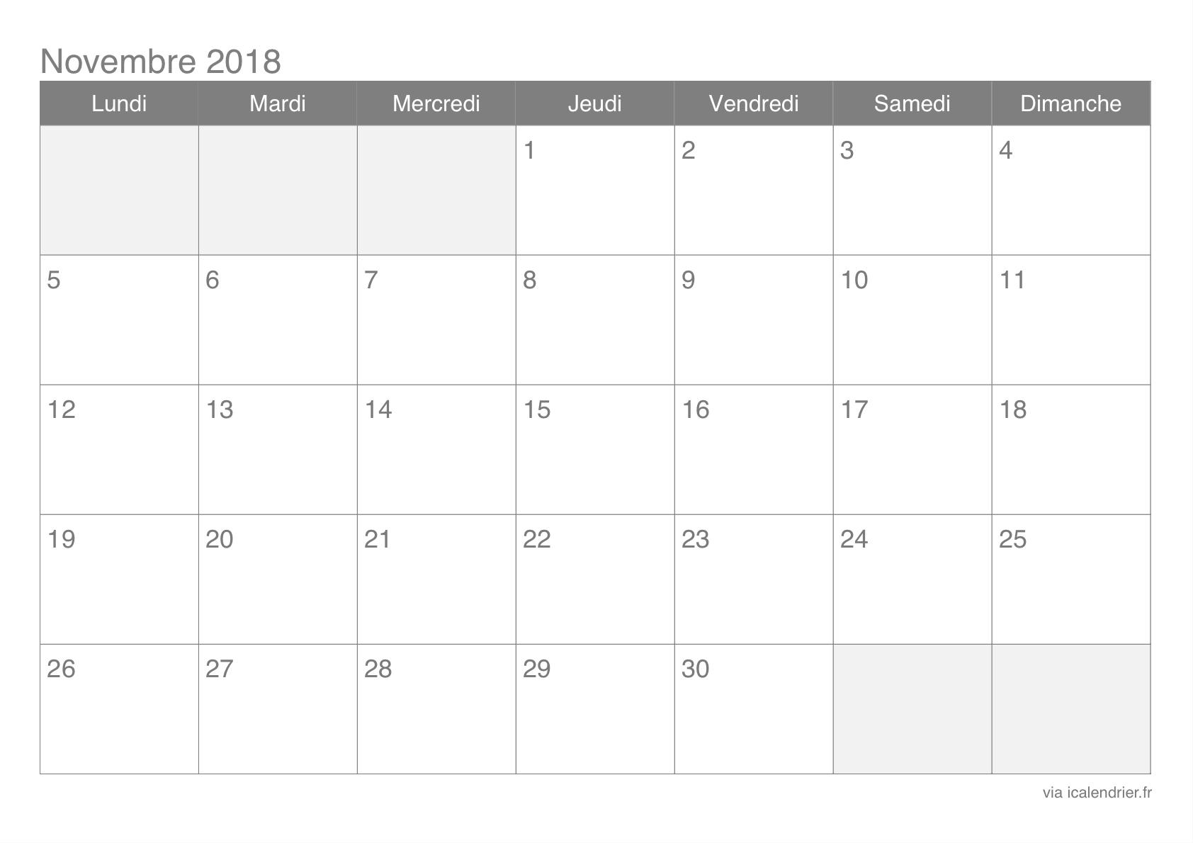 Calendrier Novembre 2018