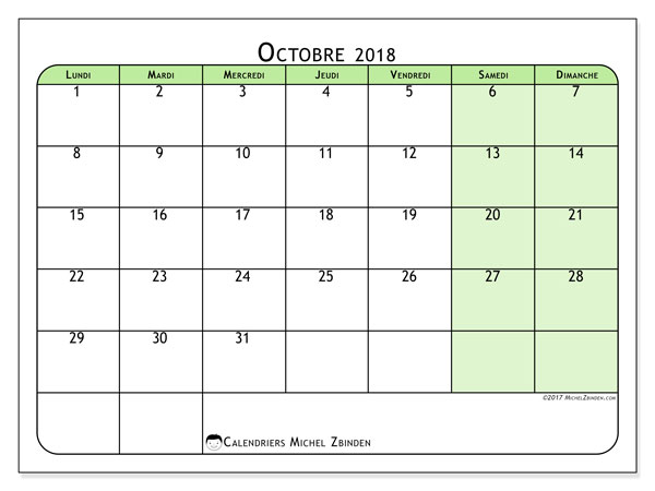 Calendrier Octobre 2018 Gabarit Imprimable