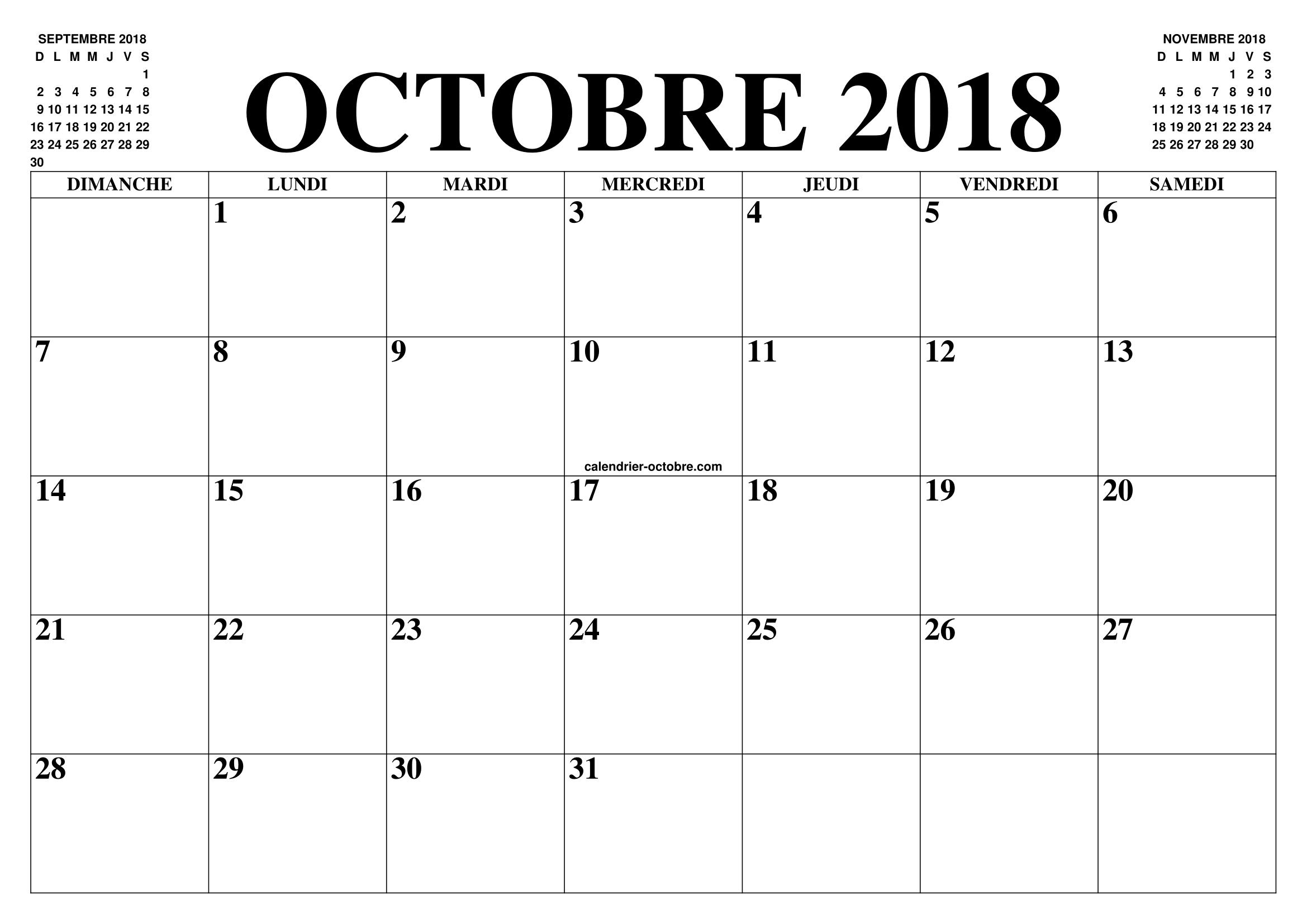 Calendrier Octobre 2018 PDF