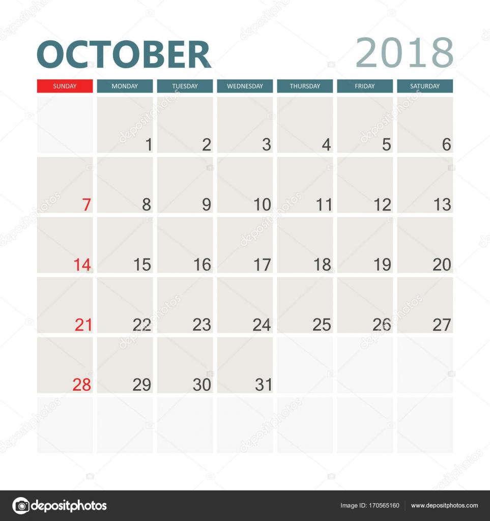 Calendrier Octobre 2018 Planner