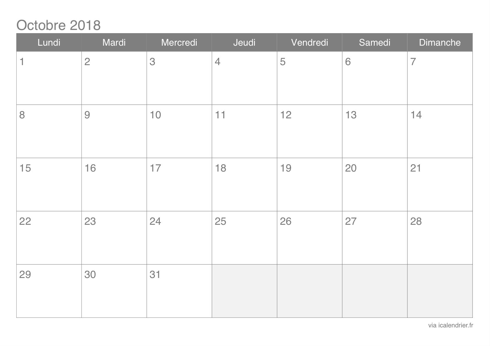 Calendrier Octobre 2018