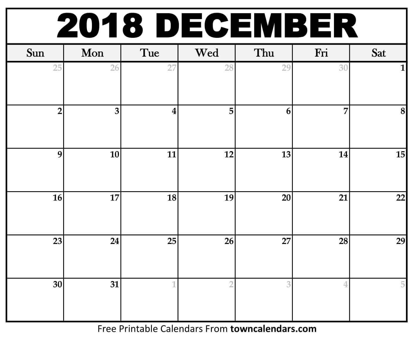 December 2018 Calendar Blank Template Planner