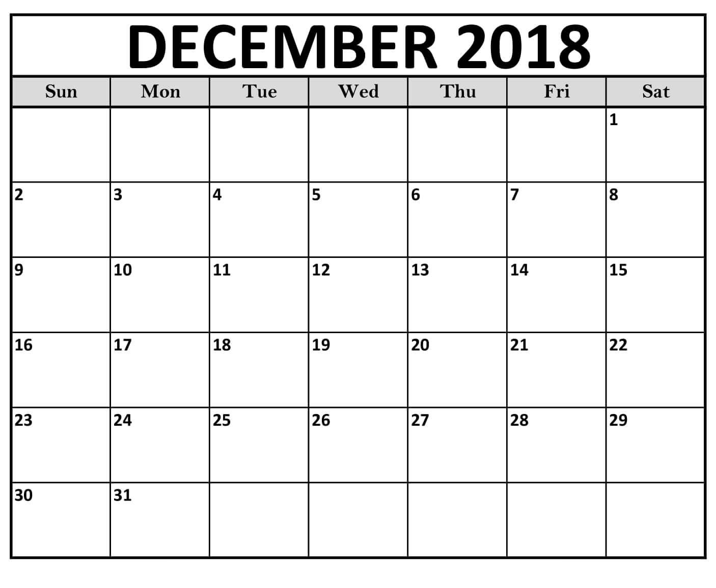 December 2018 Calendar Business Template