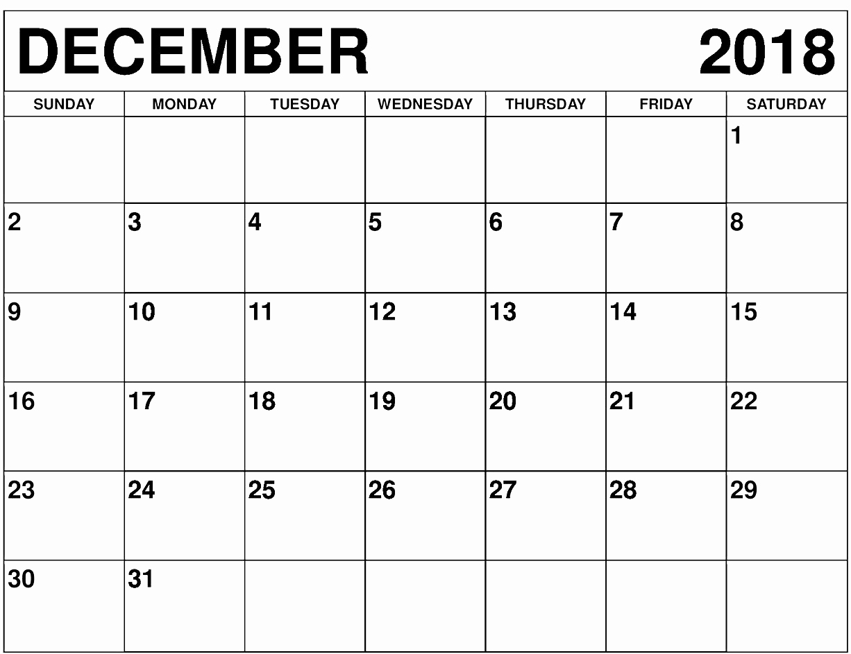 December 2018 Calendar Customized Template With Notes