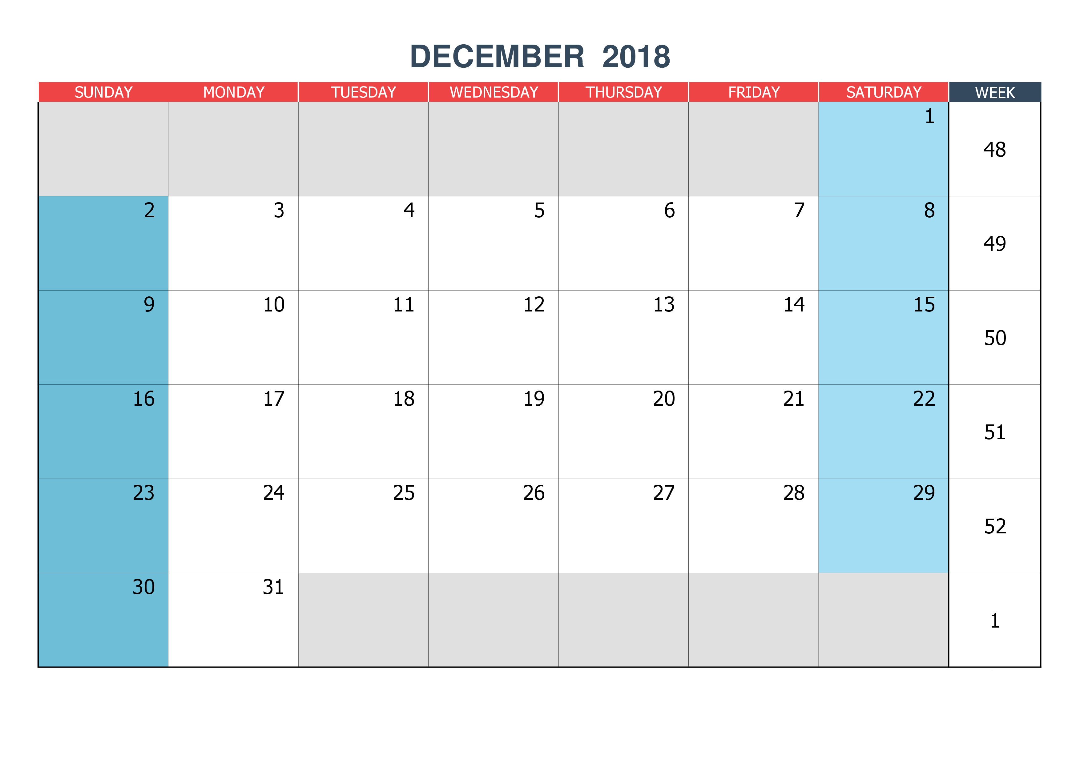December 2018 Calendar Design Template