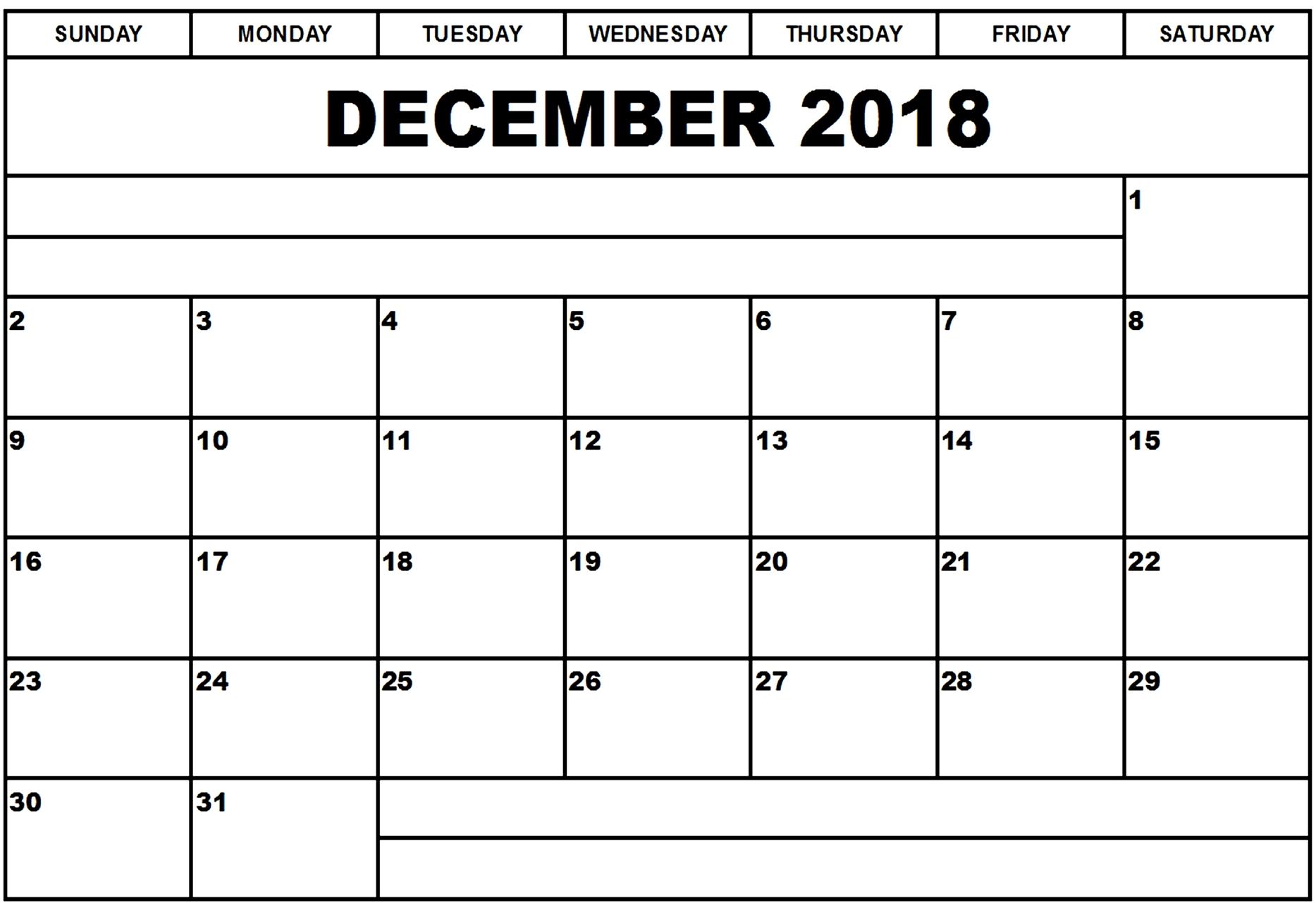December 2018 Calendar Editable Printable