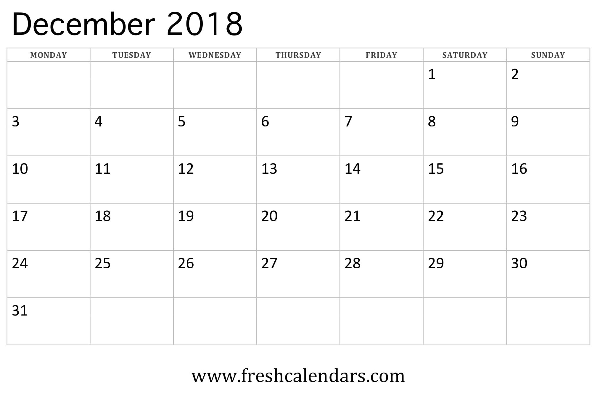 December 2018 Calendar Editable For Office