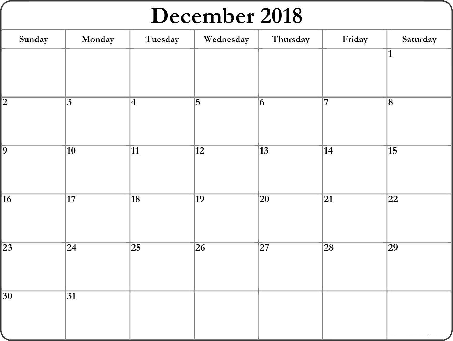 December 2018 Calendar Editable Pages