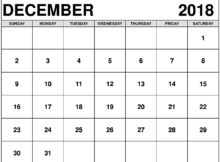 December 2018 Calendar Fillable Paper