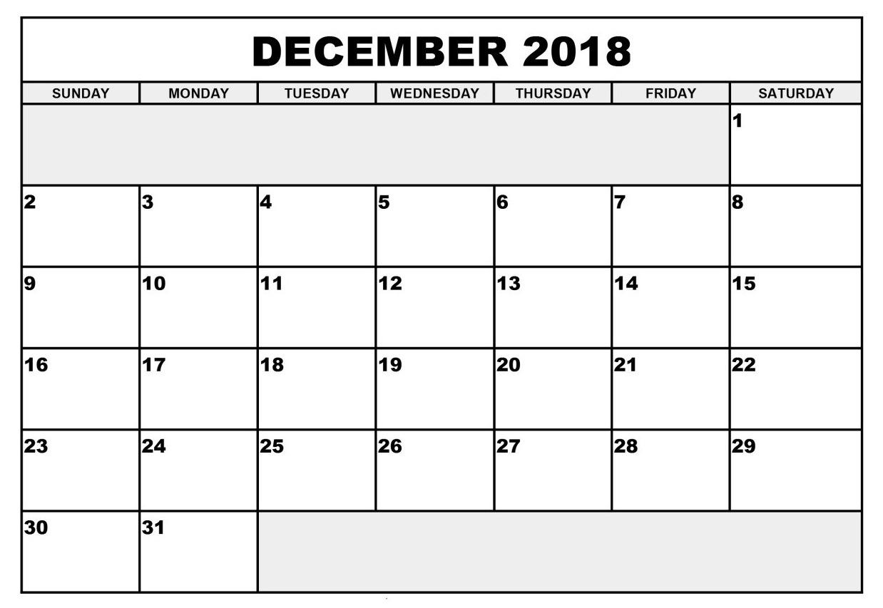 December 2018 Calendar Online Template