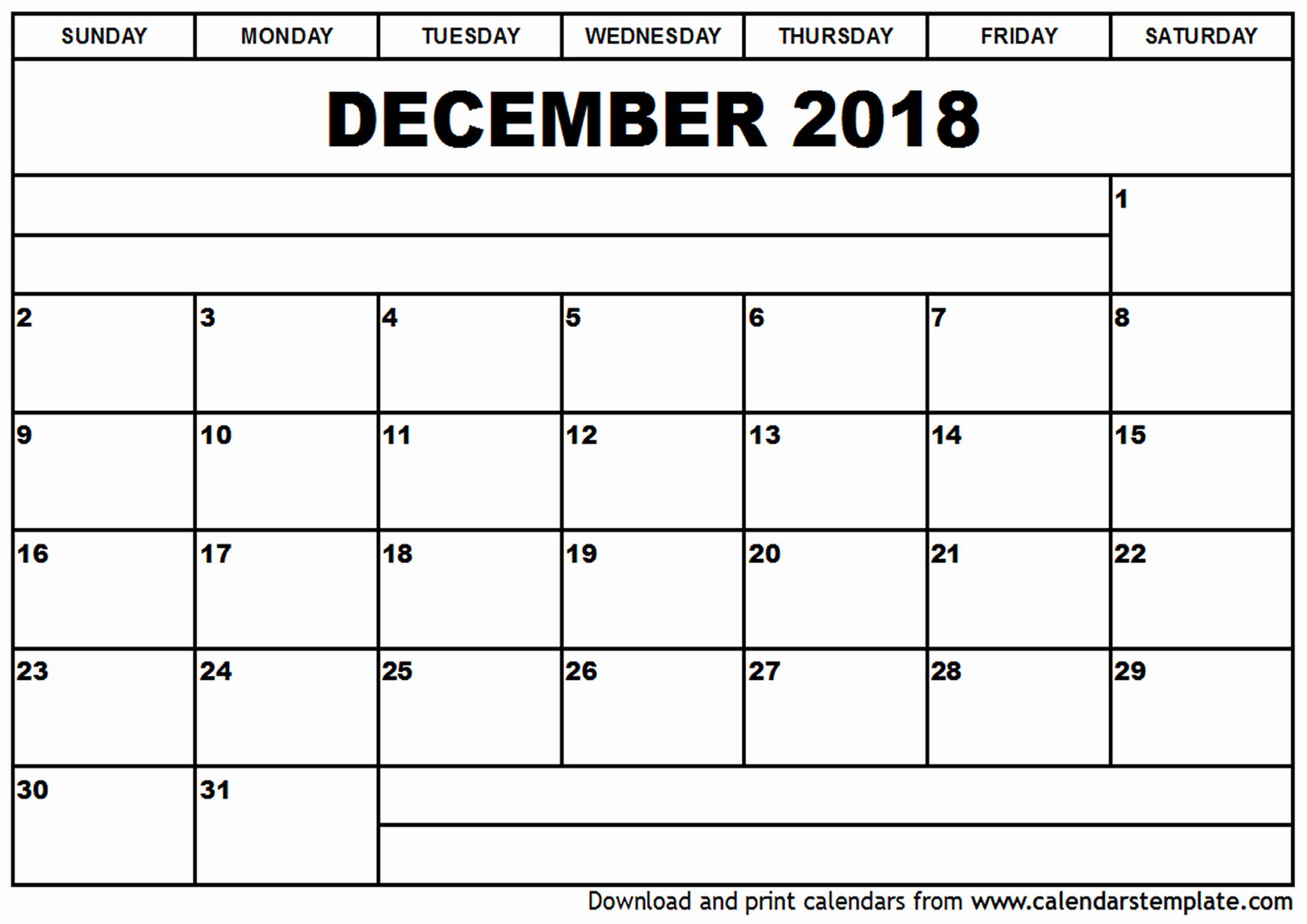 December 2018 Calendar Pages Monthly Template