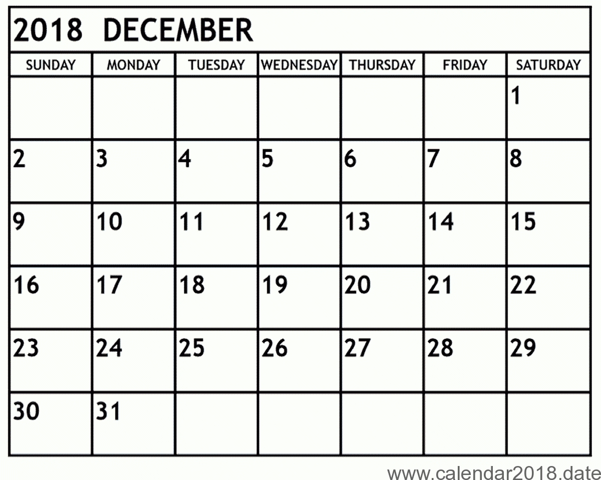 December 2018 Calendar Template Pages Printable