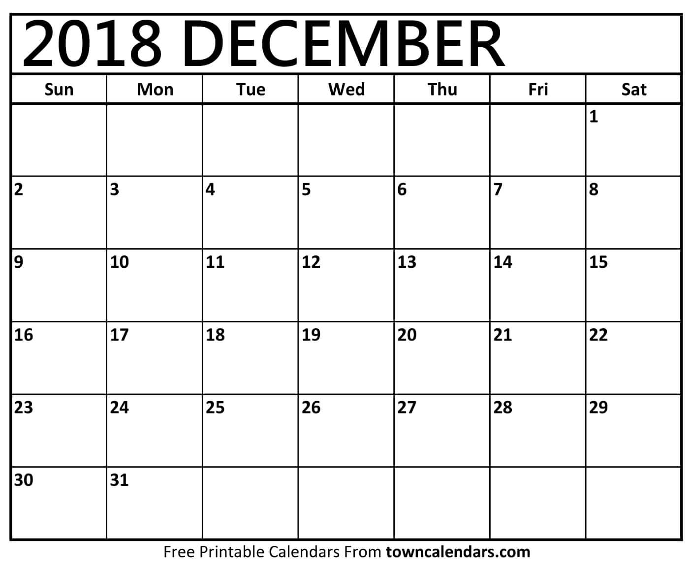 December 2018 Calendar Template Printable Images