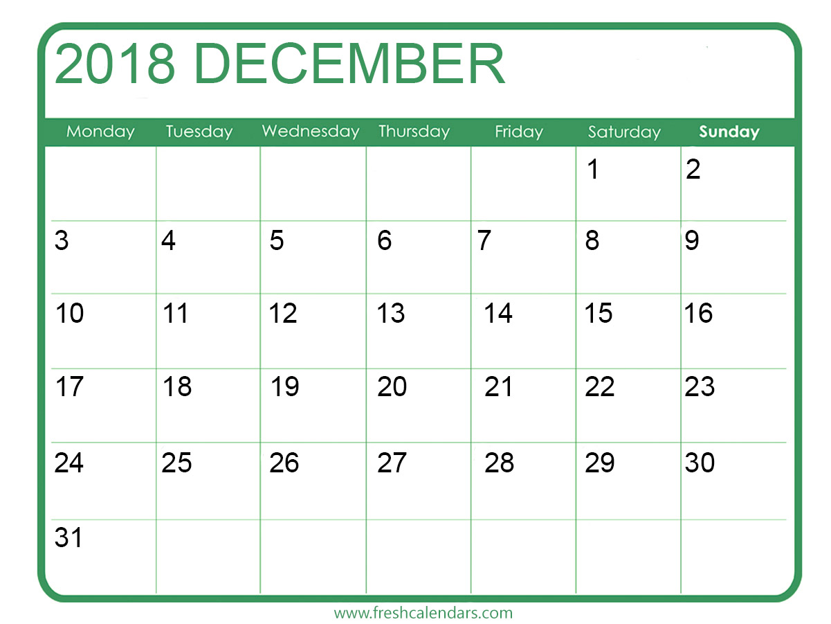December 2018 Calendar Template With Notes Pages