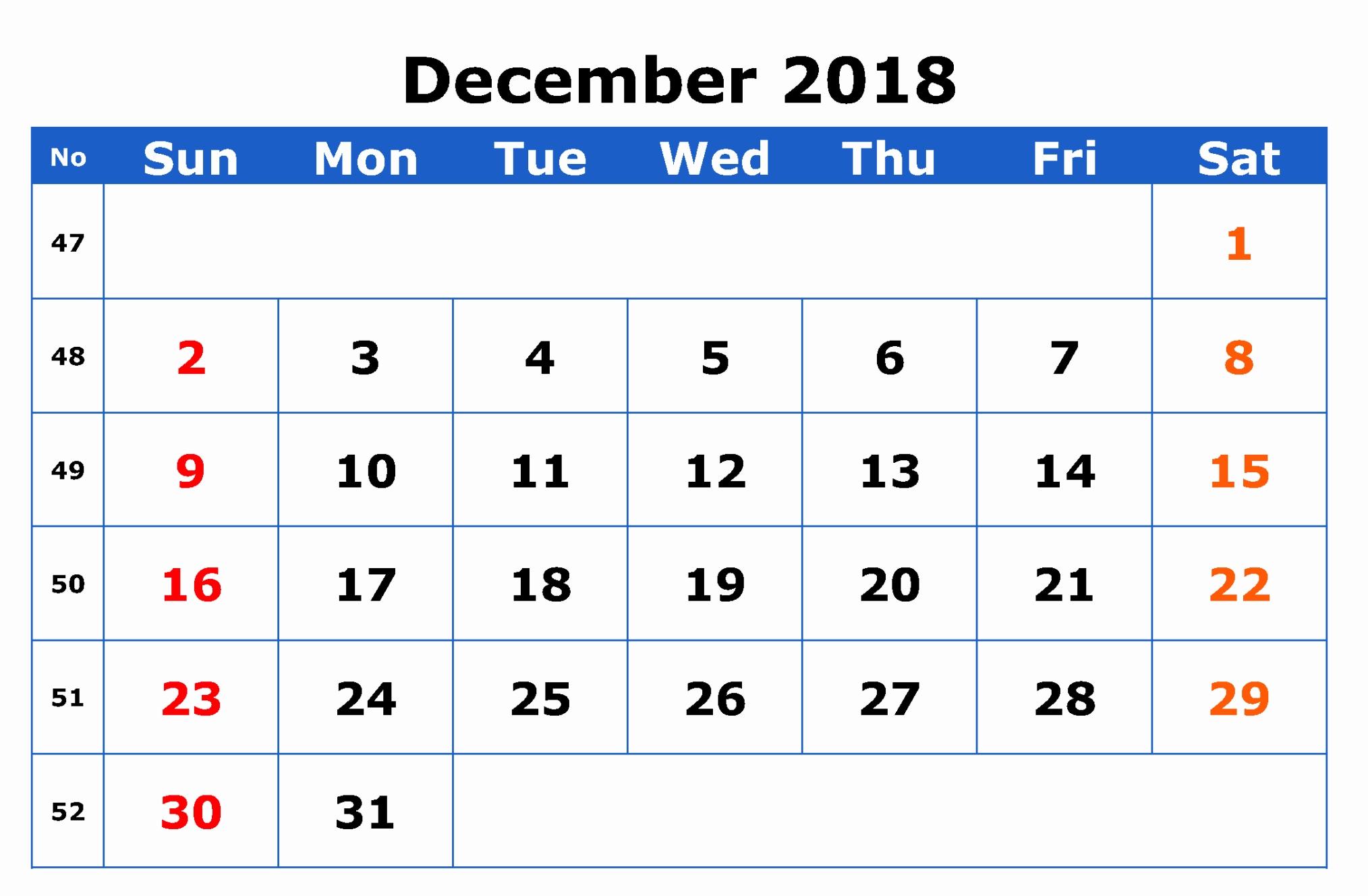 December 2018 Calendar USA Blank Template