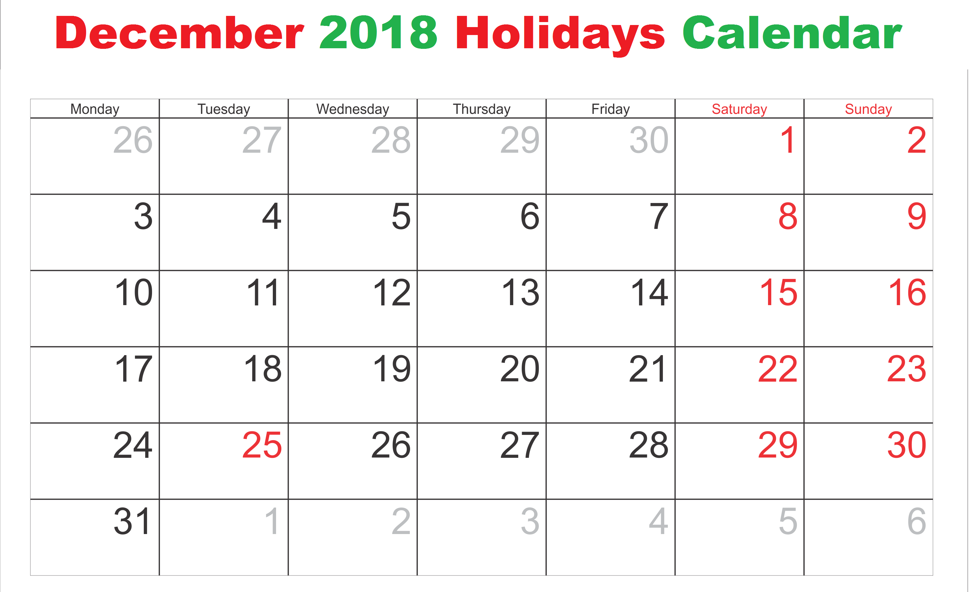 December 2018 Calendar USA National Holidays