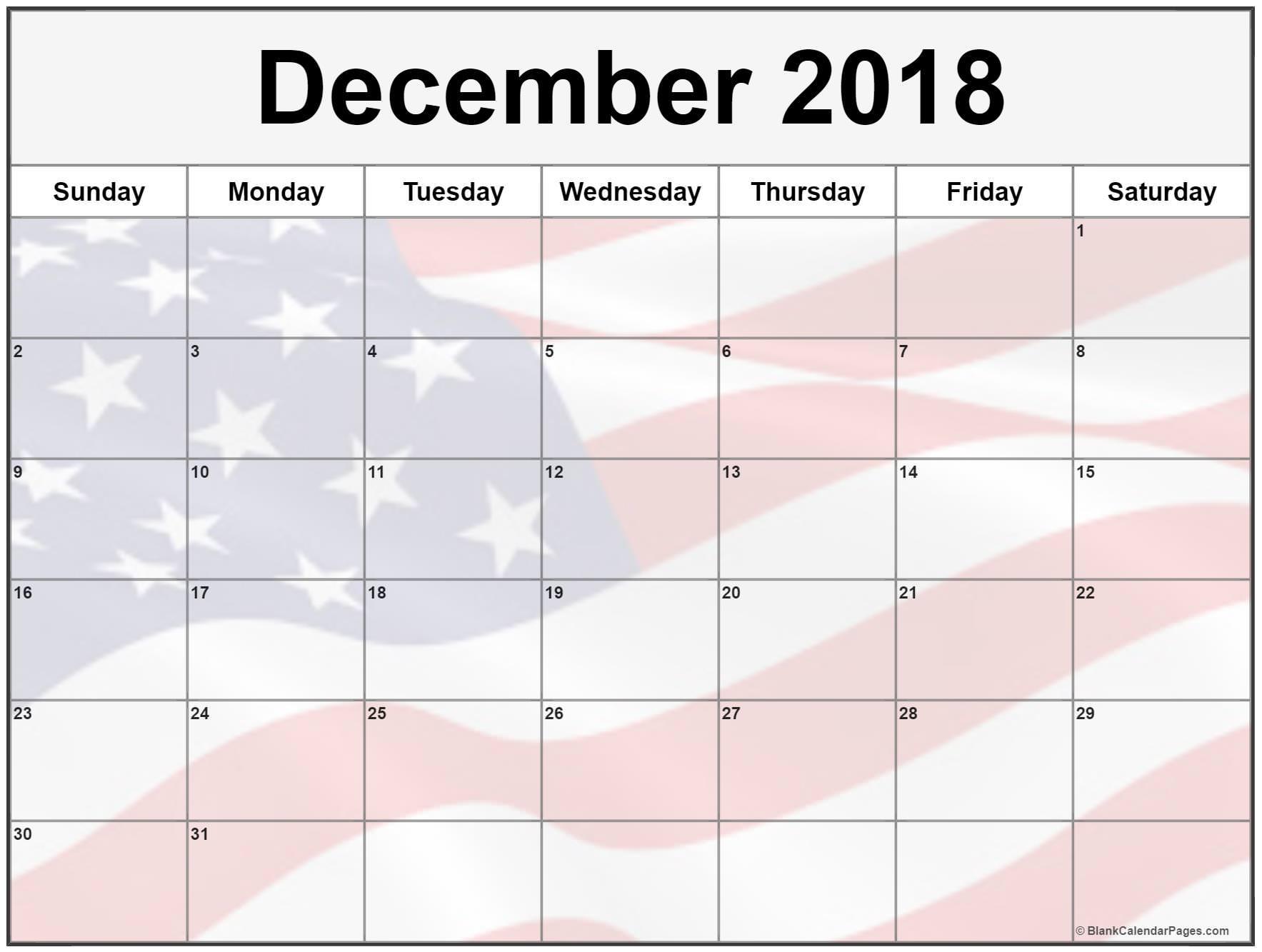 December 2018 Calendar USA