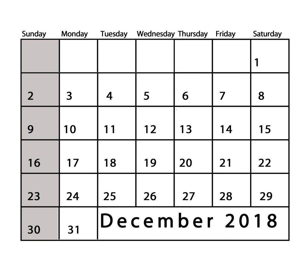 December 2018 Calendar Word Pages