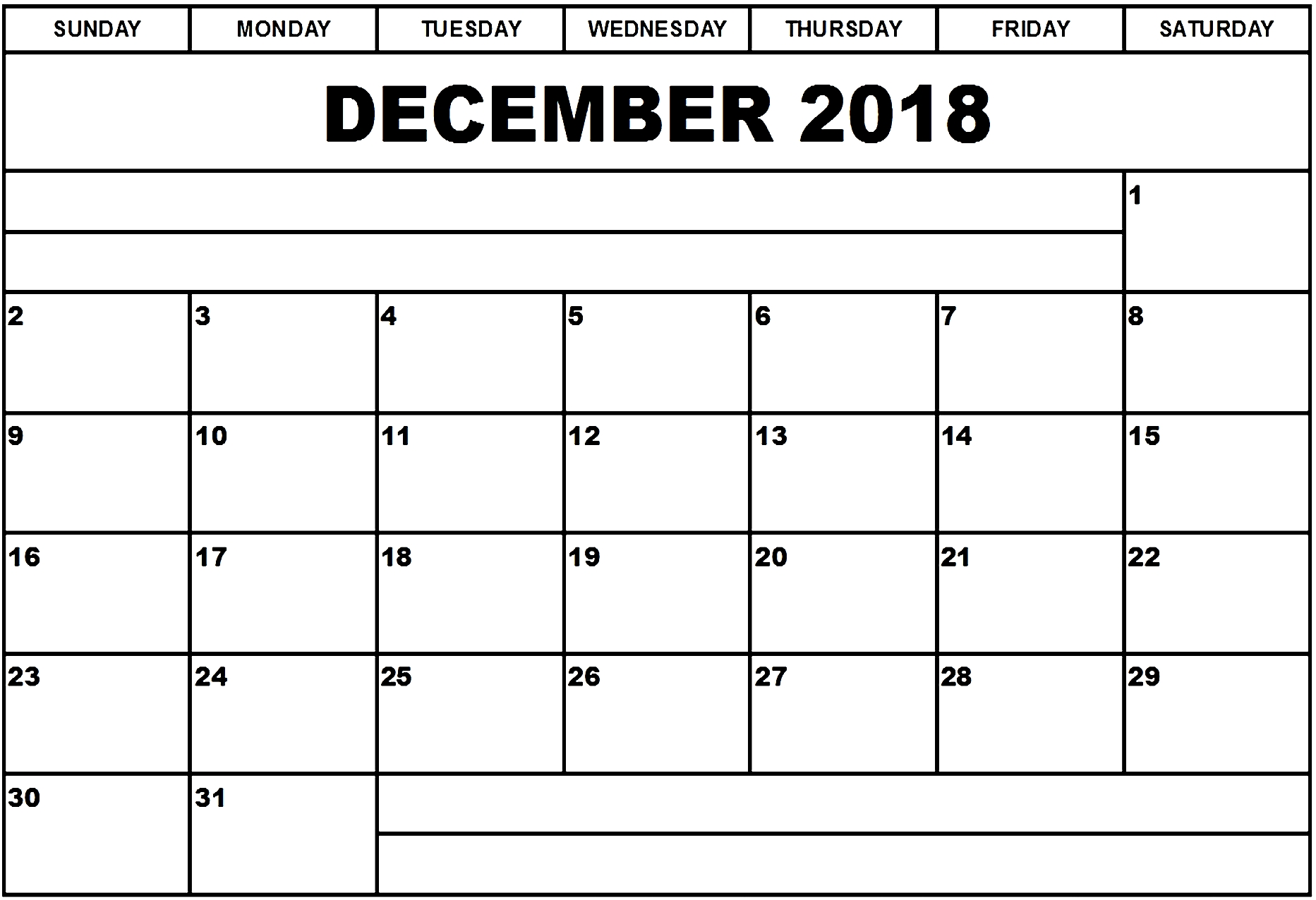December 2018 Printable Calendar Blank With Notes