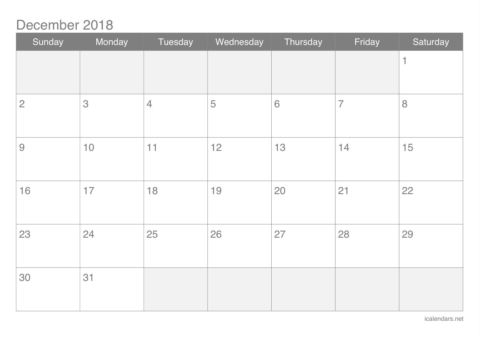 December Calendar 2018 Blank Pages