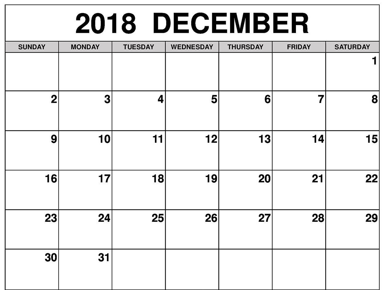 December Calendar 2018 Design Planner Images
