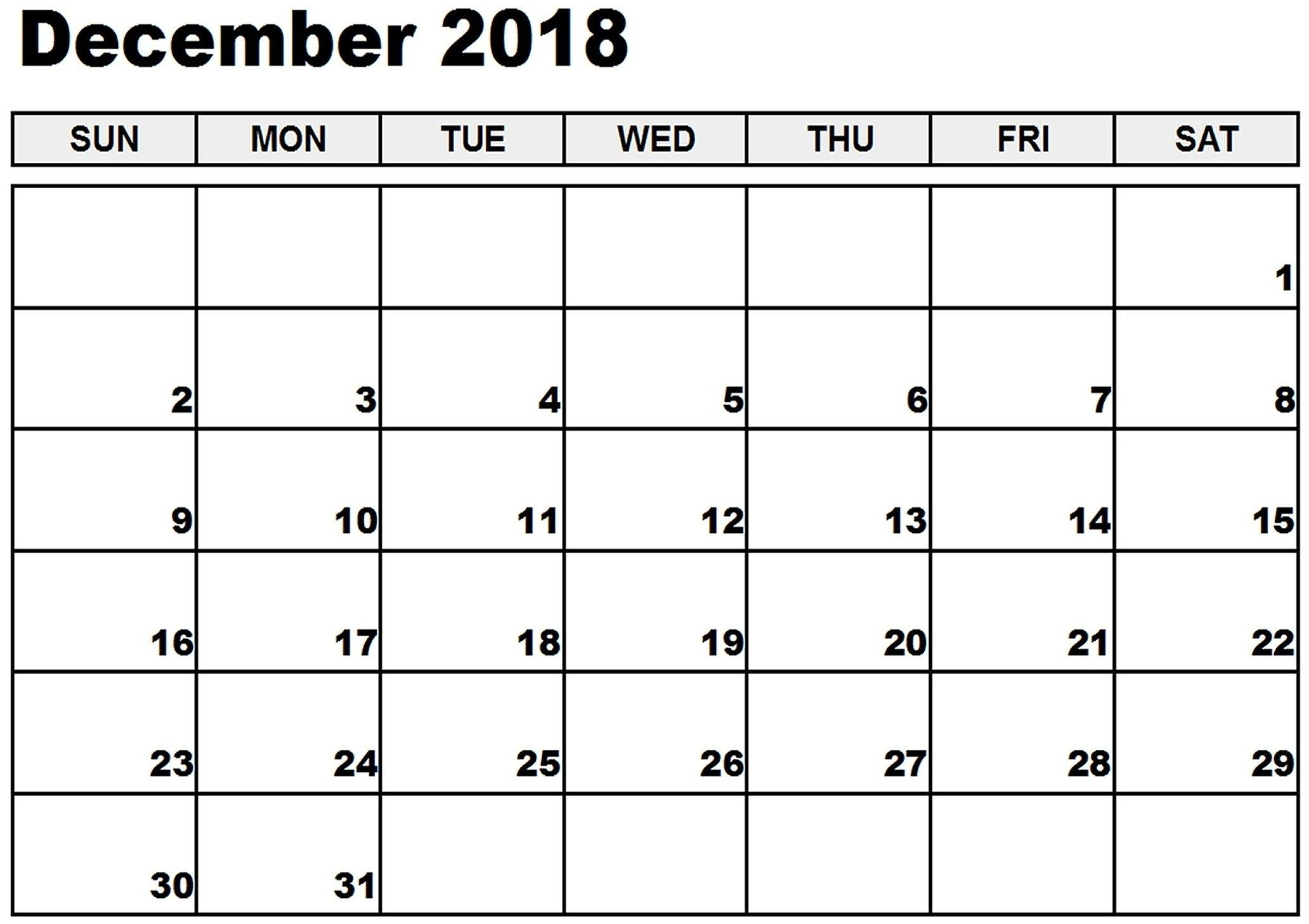 December Calendar 2018 For Office By Week