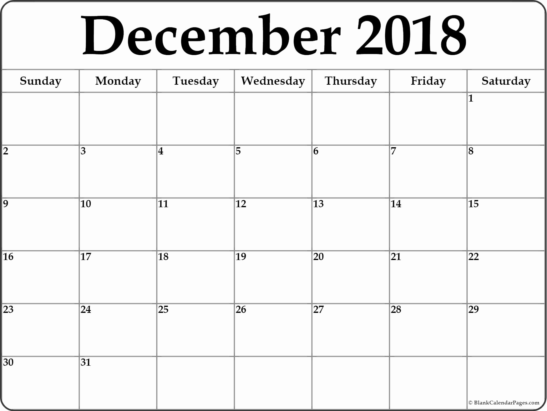 December Calendar 2018 For Office Printout