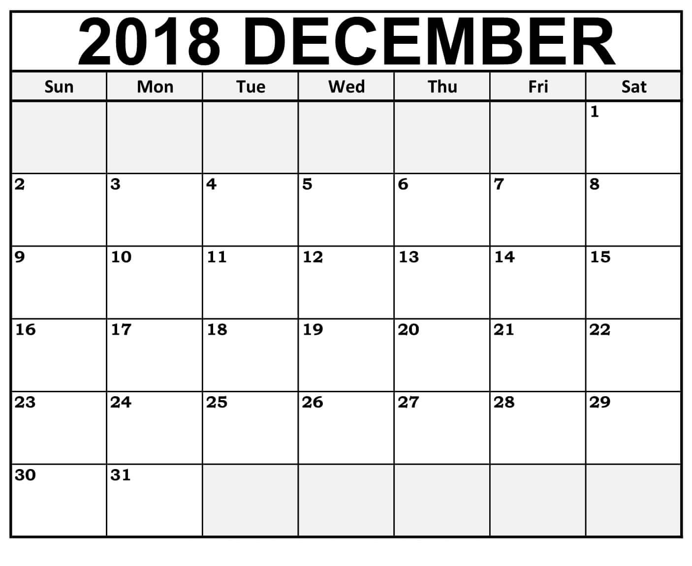 December Calendar 2018 PDF Free Download Template
