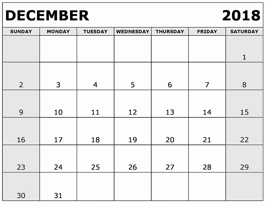 December Calendar 2018 To Do List Dates
