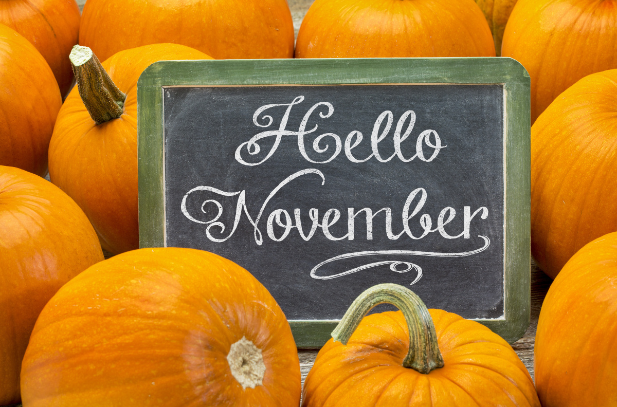 Hello November Pumpkin Halloween Clipart