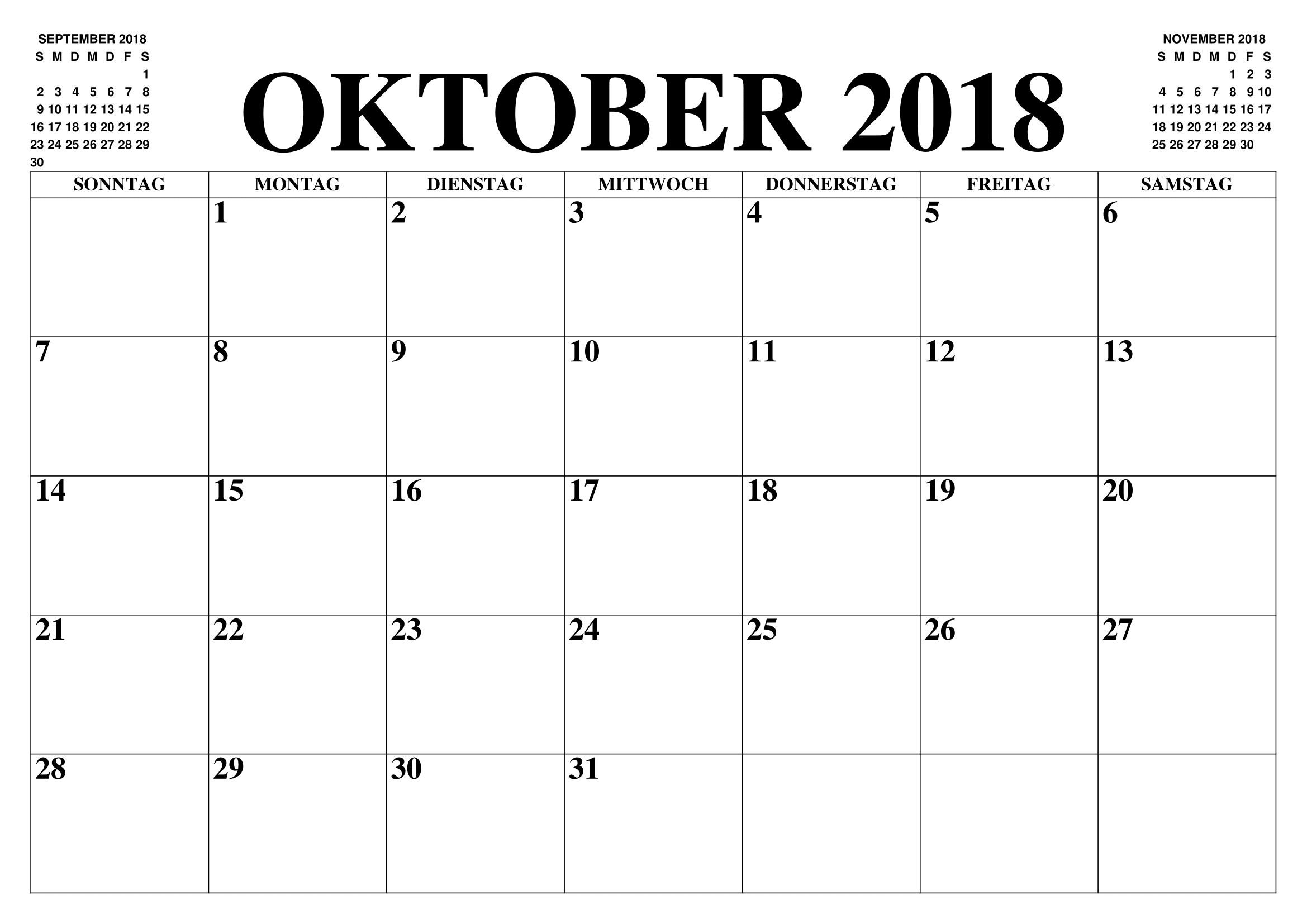 Kalender 2018 Oktober