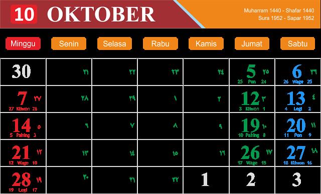 Kalender 2018 bulan Oktober