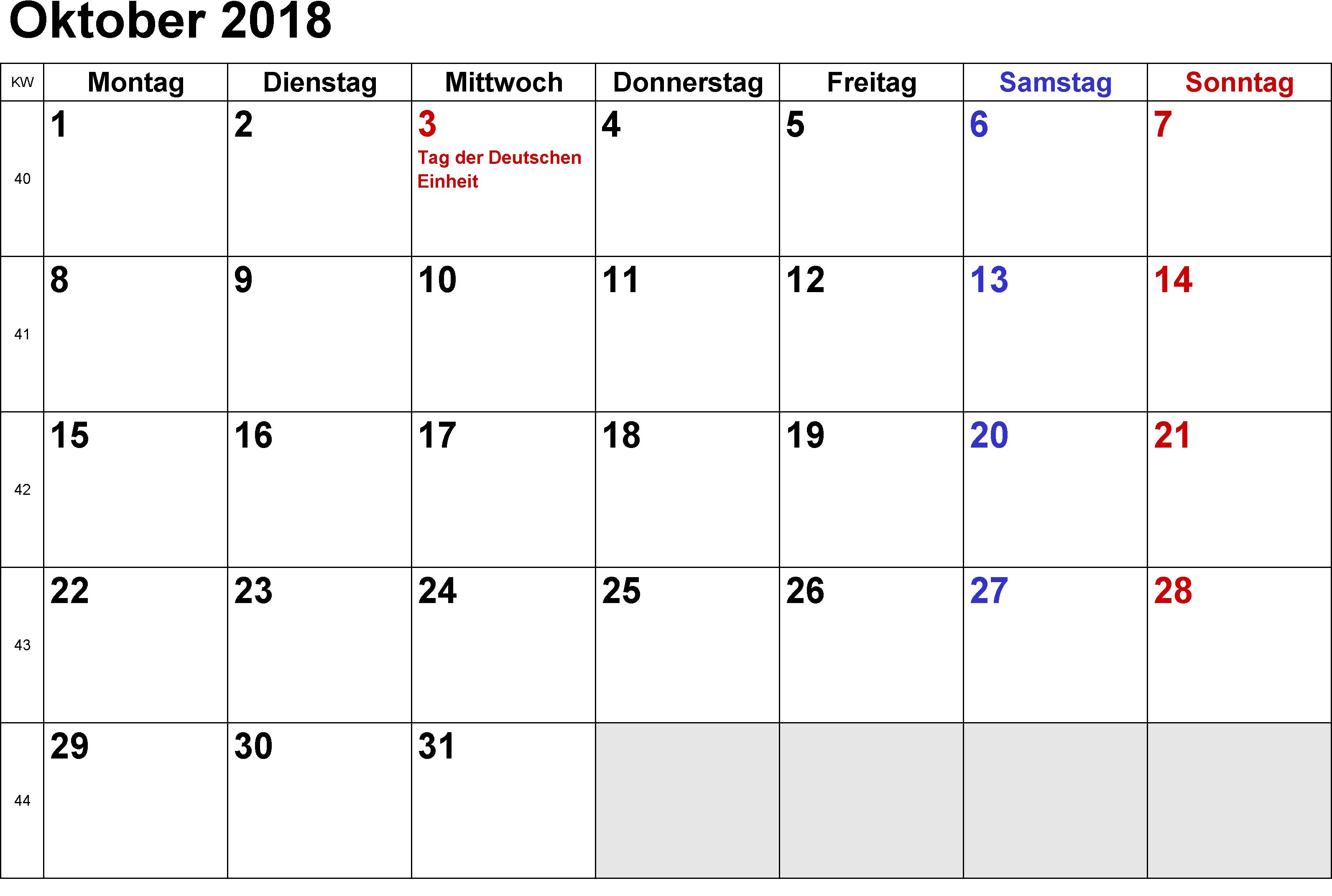 Kalender Oktober 2018 Colombia