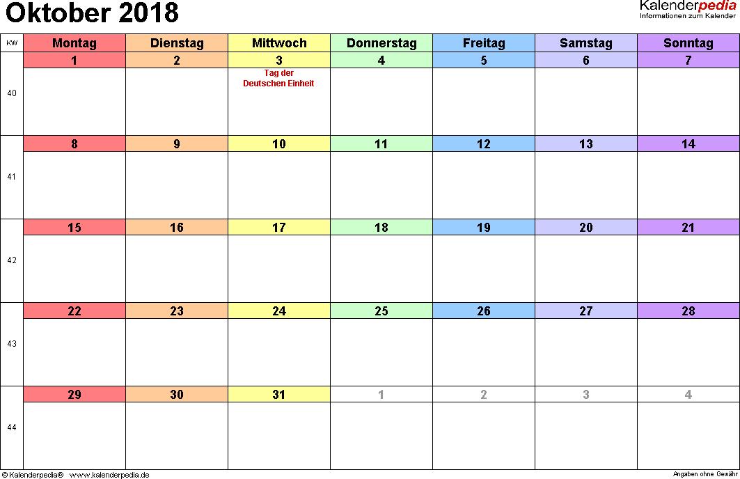 Kalender Oktober 2018 Excel