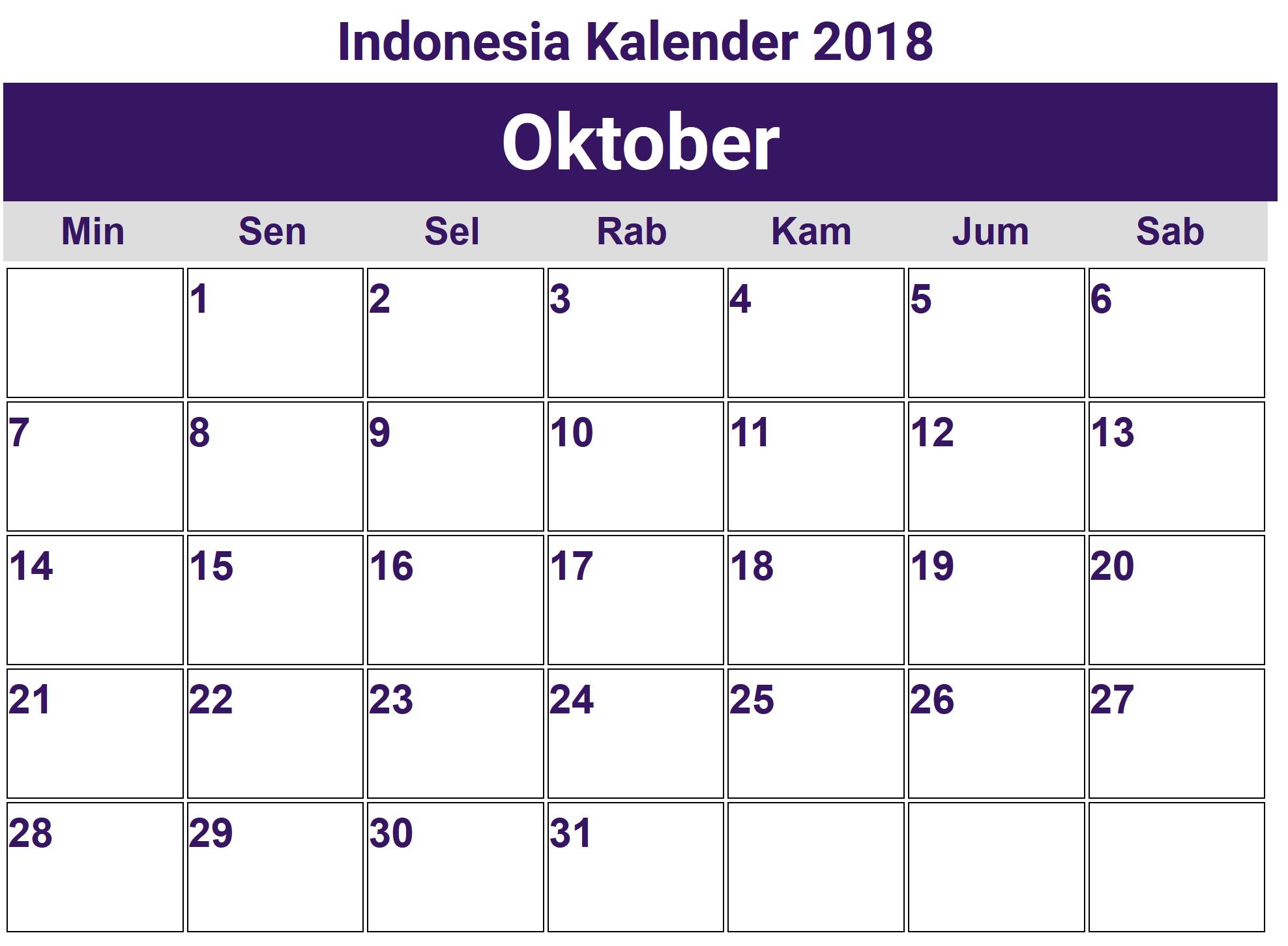 Kalender Oktober 2018 Indonesia